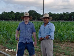 Jim and Dr. Marco Oropeza in winter nursery, 2007.